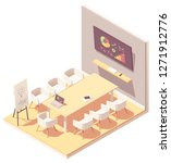 vector isometric office... | Shutterstock .eps vector #1271912776