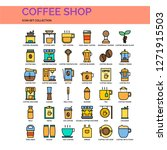 coffee shop icons set. ui pixel ...