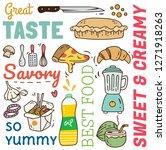 restaurant background in doodle ... | Shutterstock .eps vector #1271918263