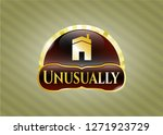shiny badge with house icon... | Shutterstock .eps vector #1271923729