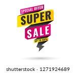 flash sale banner memphis style ... | Shutterstock .eps vector #1271924689
