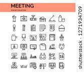 meeting icons set. ui pixel... | Shutterstock .eps vector #1271934709
