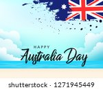 happy australia day lettering ... | Shutterstock .eps vector #1271945449