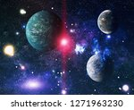 stars of a planet and galaxy in ... | Shutterstock . vector #1271963230