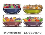 vector set of dishes with... | Shutterstock .eps vector #1271964640