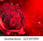 Stock photo roses bouquet and hearts background valentine or wedding card red valentines day design bunch of 127197599