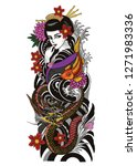 geisha tattoo design with the... | Shutterstock .eps vector #1271983336