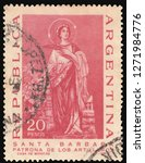 Argentina  circa 1967:  Cancelled postage stamp printed by  Argentine mint, that shows saint Barbara patroness of artillery, circa 1967.