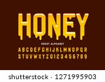 liquid sweet honey font ... | Shutterstock .eps vector #1271995903