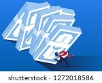 a bundle of banknotes collapsed ... | Shutterstock .eps vector #1272018586