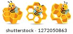 cartoon cute bee mascot with... | Shutterstock .eps vector #1272050863