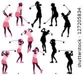 female golf poses in silhouettes | Shutterstock .eps vector #127205834