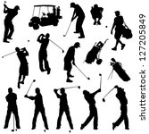 Various Male Golf Poses In...