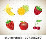 different fruits over white... | Shutterstock .eps vector #127206260