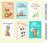 Set Of Cards With Cute Wild...