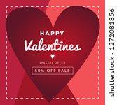 happy valentine day banner sale ... | Shutterstock .eps vector #1272081856