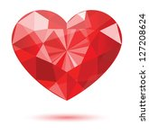 Diamond Heart Shape  Vector...