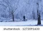 man in the snowy nature. blue... | Shutterstock . vector #1272091633