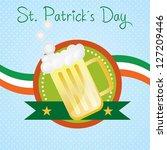st patricks day beer on blue... | Shutterstock .eps vector #127209446
