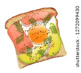 toast with avocado and salmon... | Shutterstock .eps vector #1272099430