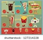 set of retro fast food menu... | Shutterstock .eps vector #127214228
