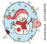 cute snowman label  | Shutterstock .eps vector #1272148210