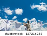 Stock photo clothes line 127216256