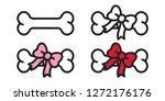 Dog Bone Vector Bow Tie Icon...