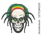 human skull with dredlocks in... | Shutterstock . vector #1272184210