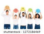 multicultural friends in denim...   Shutterstock . vector #1272186469