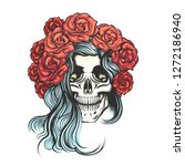hand drawn human skull in roses ... | Shutterstock . vector #1272186940