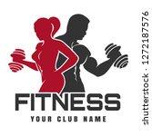 fitness club emblem or logo... | Shutterstock . vector #1272187576