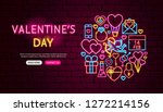 Valentine's Day Neon Banner Design. Vector Illustration of Love Promotion.