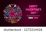 Stock vector happy valentine day neon banner design vector illustration of love promotion 1272214426