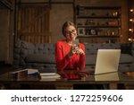 happy smiling hipster girl in...   Shutterstock . vector #1272259606