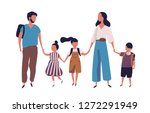 mother and father leading their ... | Shutterstock .eps vector #1272291949