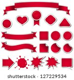 nineteen design elements in red. | Shutterstock .eps vector #127229534