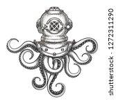 diver helmet with octopus... | Shutterstock . vector #1272311290