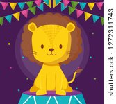 cute circus lion in stage | Shutterstock .eps vector #1272311743