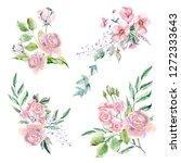 set of watercolor hand painted... | Shutterstock . vector #1272333643