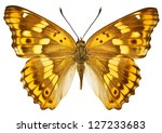 Stock photo dorsal view of aglais ilia lesser purple emperor butterfly isolated on white background 127233683