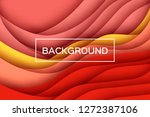 trendy red paper cut wave... | Shutterstock .eps vector #1272387106