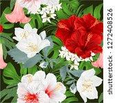 seamless texture bouquet with... | Shutterstock .eps vector #1272408526