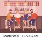 Stock vector group of happy men and women dressed in elegant clothing sitting at bar talking and drinking 1272412429