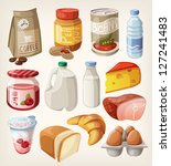 collection of food and products ... | Shutterstock .eps vector #127241483