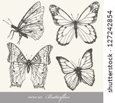 Stock vector butterfly set insect sketch collection for design and scrapbooking 127242854