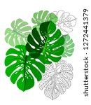 vector tropical pattern with... | Shutterstock .eps vector #1272441379