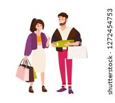 funny couple carrying shopping... | Shutterstock .eps vector #1272454753