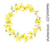 Spring Wreath With Blossoming...