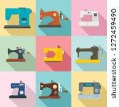 sew machine icon set. flat set... | Shutterstock .eps vector #1272459490